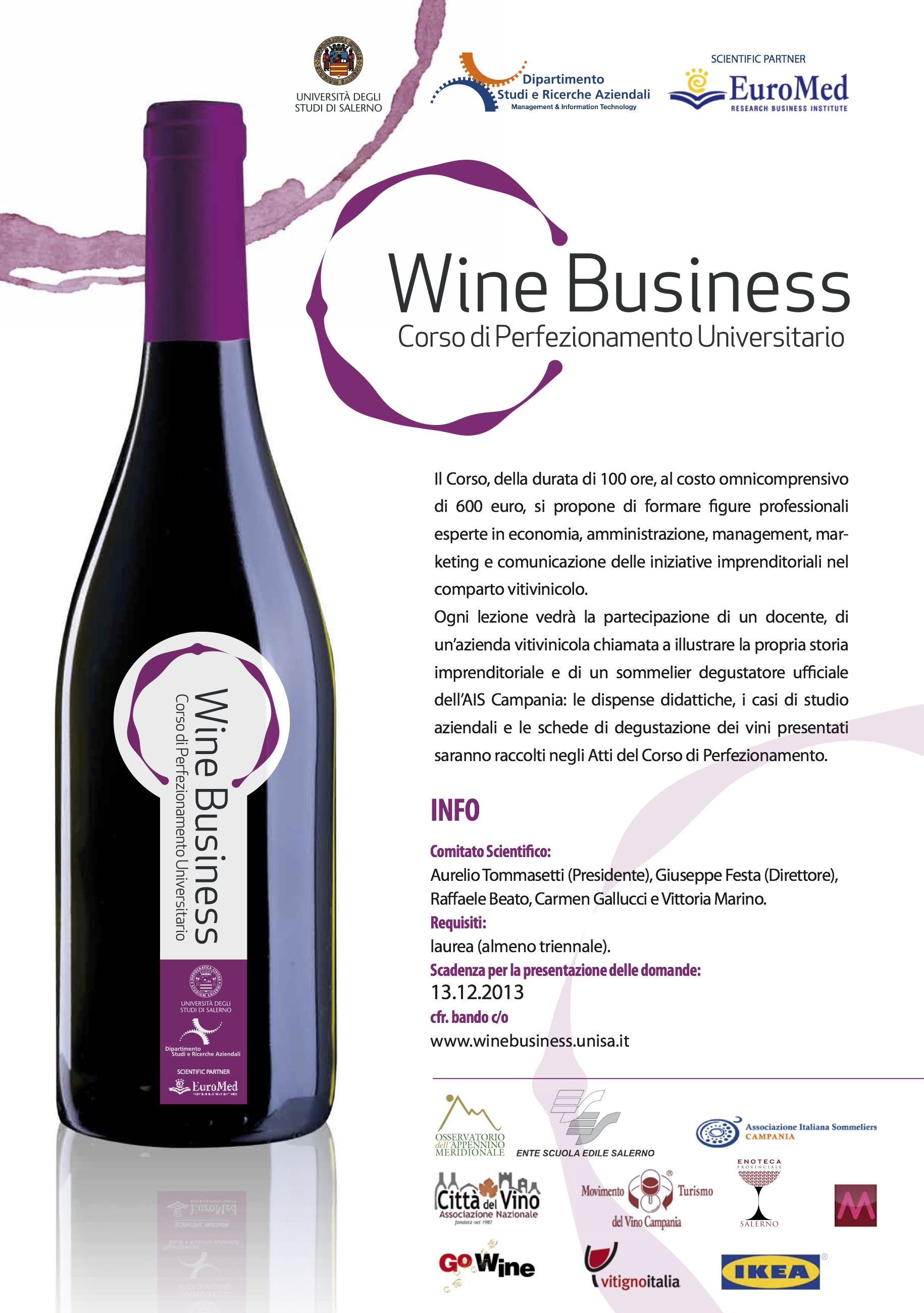 Corso di perfezionamento in Wine Business presso l'università di Salerno